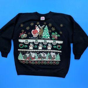 Vintage Hanes Christmas Sweatshirt 1X Plus Size